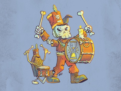 Skull Bois Band character design drumline louisiana new orleans madri gras coffin drum marching band skeleton illustration art design
