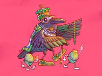 The Royal Crow louisiana new orleans mardi gras crow character design illustration design art