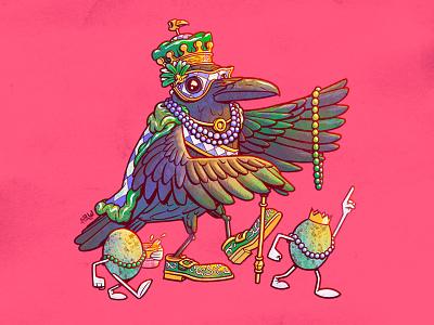 The Royal Crow louisiana new orleans mardi gras crow character design illustration design art