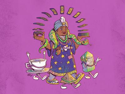 Miss Clair & Her Tarot snake tarot card tarot character design louisiana new orleans mardi gras illustration design art