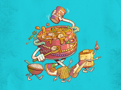 Gumbo & Friends corn bread rice corn food gumbo mardi gras louisiana new orleans character design illustration design art