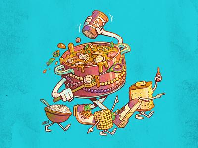 Gumbo & Friends corn bread rice corn food gumbo mardi gras louisiana new orleans character design illustration design art