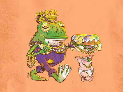 Fat Tuesday & the End of Mardi Gras crown cake baby frog character design louisiana new orleans mardigras illustration design art
