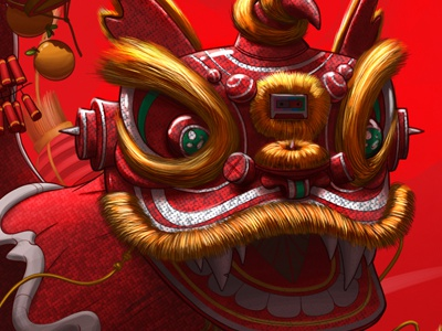 Illustrated Mixtape 015 - Spirit Animal illustration art digital photoshop lion chinese new year china red year of the ram
