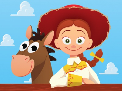 Jessie & Bullseye toy story illustration animation vector disney pixar bullseye jessie