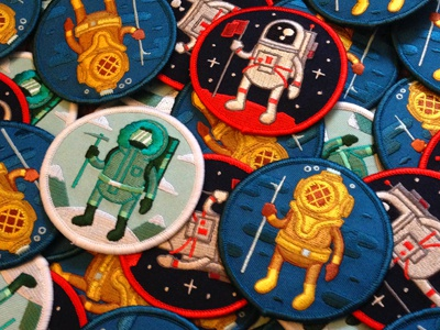Adventure Club Patches illustration design mountaineer diver astronaut vector embroidered patch embroider patch