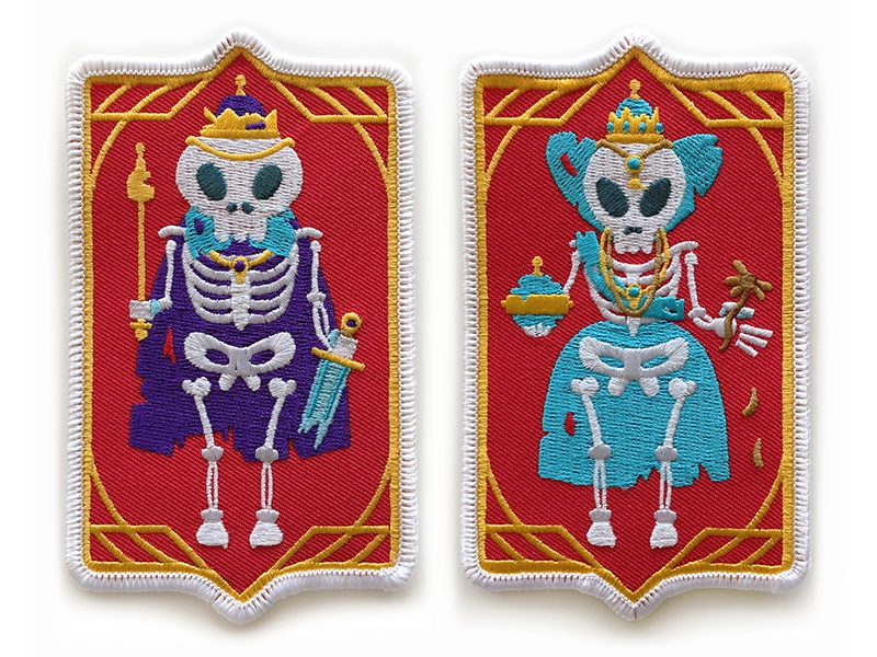 King and Queen Of Nothing Patches skeleton nothing royalty queen king illustration design vector embroidered patch embroider patch