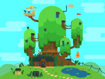Finn & Jake's Treehouse tree house illustration vector jake finn adventure time