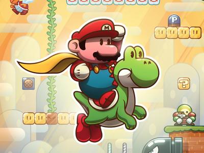 Super Mario World illustration vector video games nintendo super mario world super mario yoshi mario