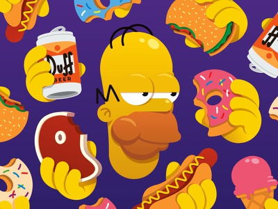 The many temptations of Homer Simpson donuts design illustration vector food the simpsons homer simpson homer