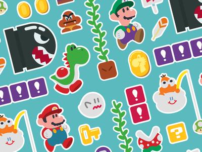 Mario Pattern pattern super mario world super mario yoshi illustration design vector video games nintendo luigi mario