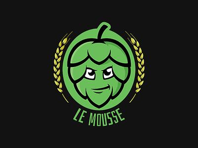 Le Mousse mascot cartoon mark logo hops blog brewery branding beer