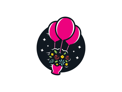 Balloons branding identity logo decorator event party balloons stars floating flower pot