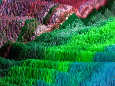 Crystal World cinema 4d c4d corona renderer 3d render colorful crystals height-mapped topography hair