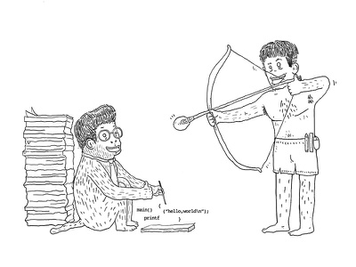 程序猿 and 射击师 like tezign idea programmer designer illustration
