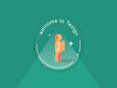 Welcome to Tezign space astronaut graphic illustration tezign green badge