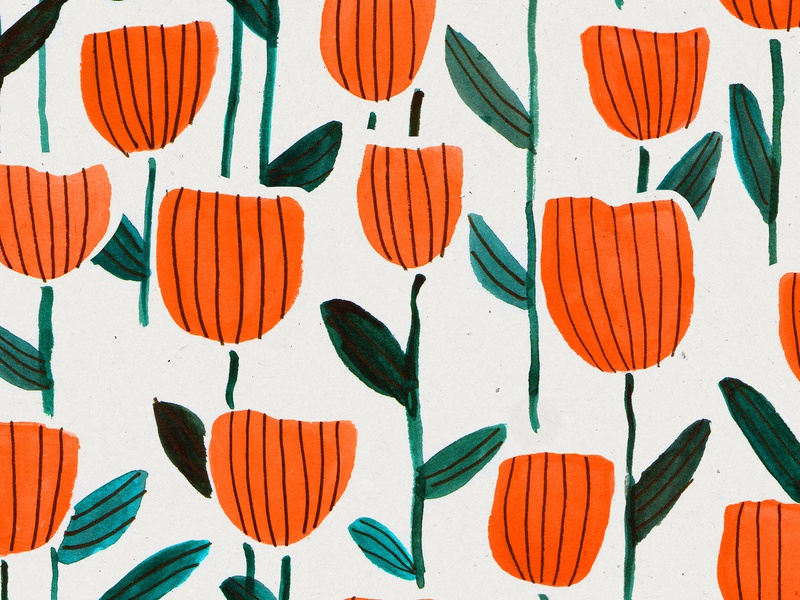Tulips flower garden garden painting gouache sketch surface pattern design pattern flower pattern flowers drawing color illustration
