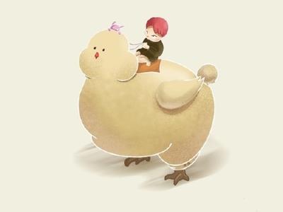 One person walks illustration hen daughter character cartoon