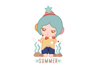Crying ,ocean @Minii minii girl illustration character daughter cartoon