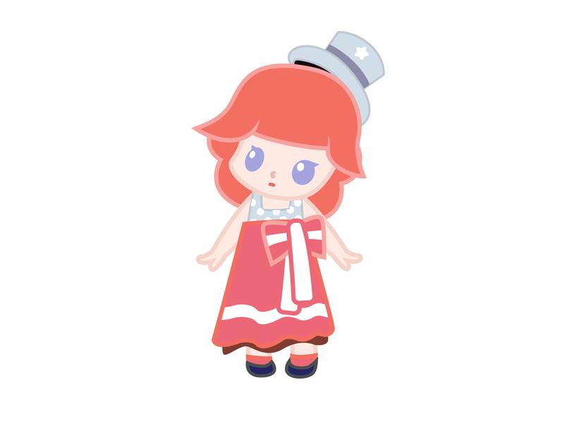 Retro girl@Minii minii girl illustration character daughter cartoon