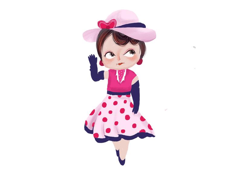 Vintage big wave head wave dress style girl minii illustration daughter character cartoon