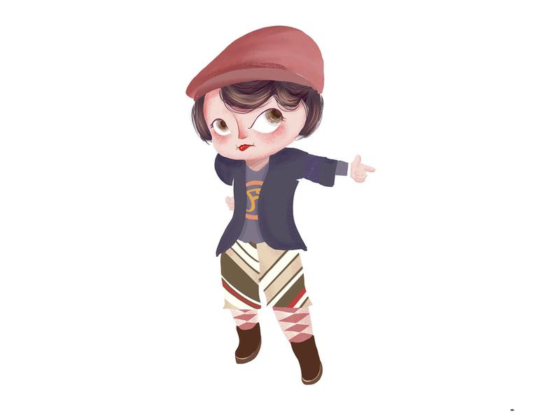 Retro hunting style girl minii illustration daughter character cartoon