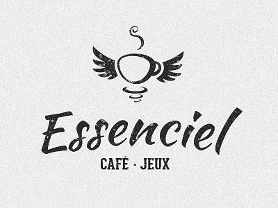 Essenciel Logo logo branding wings cup coffee game