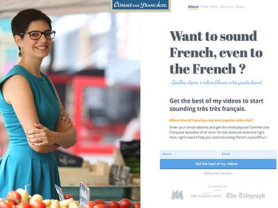 Landing Page - Comme une française desktop typographic web design landing page