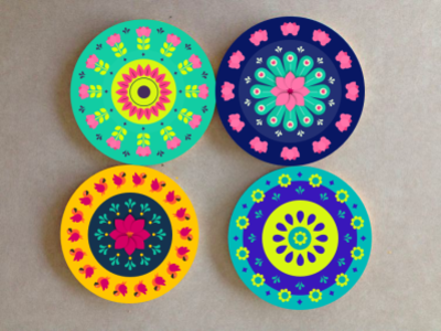 Colourful bright Coasters orange purple sea green pink flower leaf parrot yellow green coaster blus coaster lotus coaster lotus flower lotus circle colorful coasters
