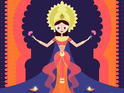 Flat Colorful Diwali Laxmi Goddess orange dhanteras diwali gods indiangods goddess laxmigoddess laxmi colorful flat illustration flat design flat