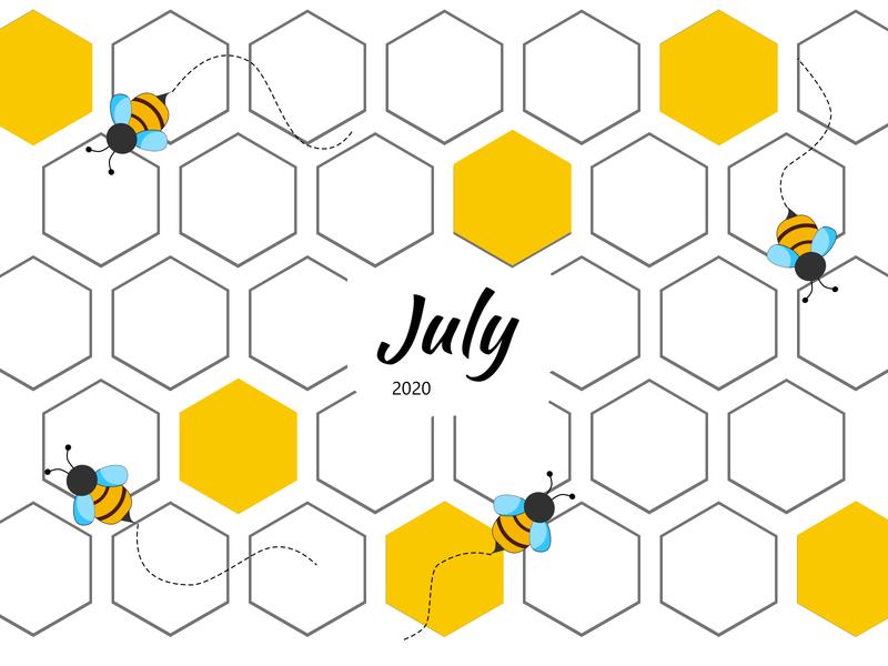 July Bee Calendar colorful pattern design flatdesign illustration july 4th 2020 honeybee honey bee hexagons hexagon yellow calendar months july