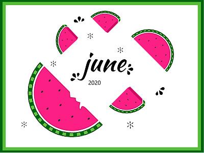 June 2020 Watermelon calendar pattern festive flatdesign illustration colorful month green fruits pink water year calendar summer june watermelon