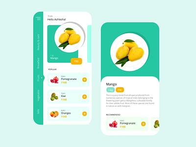Ecommerce grocery app UI india rupee design ui flatdesign illustration colorful mango grocery app grocery fruits ecommerce design ecommerce app app ecommerce