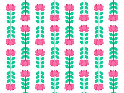 Lotus Pattern pattern design flat illustration flatdesign illustration graphic pattern leaf green logo pink flower flower illustration lotus flower lotus