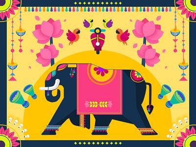 Colorful India elephant lights festive parrot lotus birds colorful