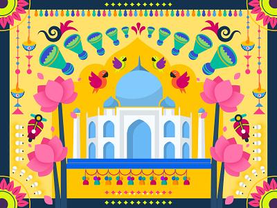 Colorful India parrot festive wonders tajmahal colorful color
