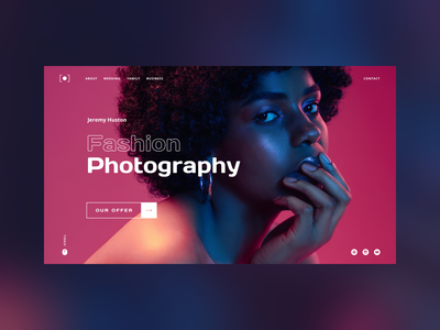Photography Portfolio - Concept web design fashion hero image typography design web design full page face agency beauty navigation home page landing page woman neon colors photography gallery portfolio web web app