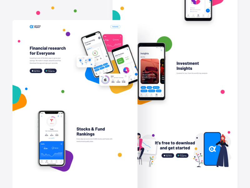 Genuine Impact, Fintech App - landing page charts scroll android app ios app finance business founds stock investing website one page about page product page landing page finance fintech mobile mobile app app web web app
