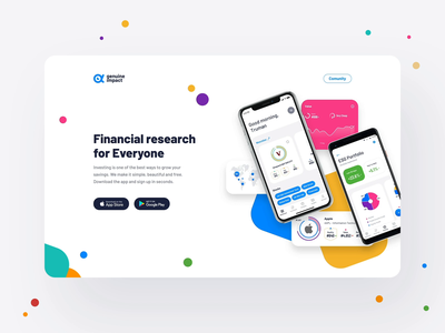 Genuine Impact, Fintech App - landing page animation interaction animation website web app web stock scroll product page one page mobile app mobile landing page ios app investing founds fintech business finance android app about page