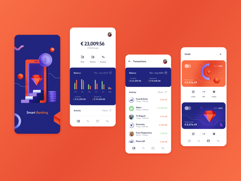Smart Banking - mobile app concept business statistics illustration tabs account balance credit card splash screen transactions income savings money bank banking fintech finance chart mobile mobile app app