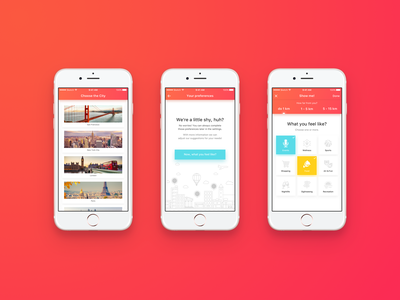 Leisurize iOS - concept app settings feed sign up sign in wizard profile concept design colorful travel sketch pink ux design user interface graphic design mobile app ios