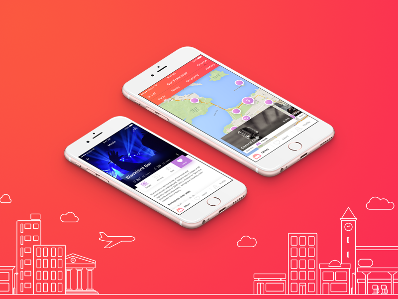 Leisurize iOS - concept app colorful travel sketch white pink ux design user interface graphic design mobile app ios