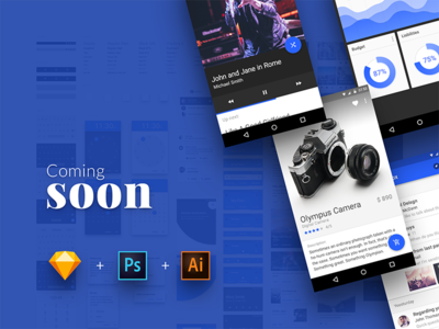 Material Design UI Kit - Huge update coming soon! chart product ui kit material design android mobile app graphic design freebies user interface photoshop illustrator sketch