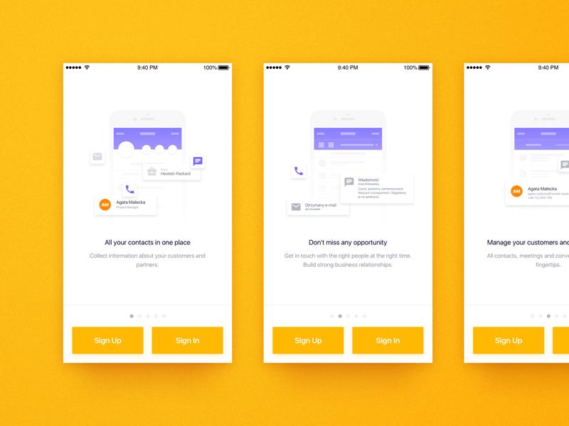 FollowUp iOS - concept app concept design sketch yellow white violet light business flat design ios ux design user interface mobile app graphic design