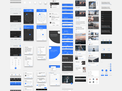 Material Design UI Kit freebie for UXPin chart chat filters settings gallery form profile weather player calendar sketch illustrator photoshop user interface freebies graphic design mobile app android material design ui kit