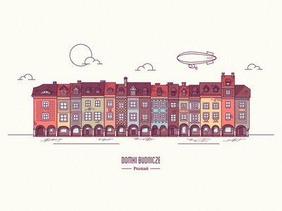 Poznań Old Market buildings photoshop illustrator buildings colorful illustration graphic design