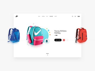 Nike Store - concept design product concept design sketch light colorful ecommerce minimal flat design web design website