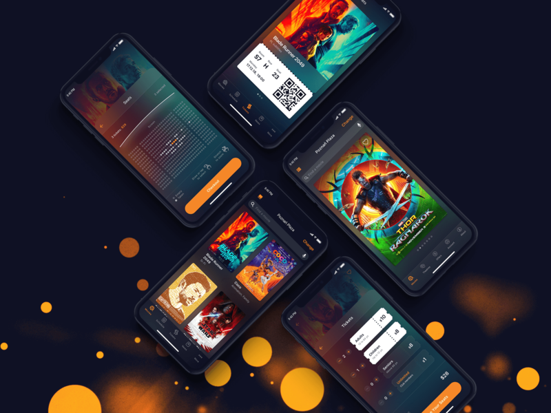 Cinema City iOS - concept app colorful concept design dark flat design ios ux design mobile app user interface sketch graphic design