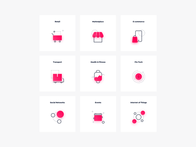 Industries Icons graphic design icon design branding minimal technology illustrator