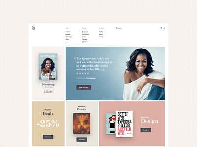 Bookstore Home Page - concept design product menu responsive web design metro design flat  design website web design ecommerce colorful sketch concept design
